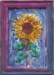 Ramka gipsowa - kwiatek, pomalowana