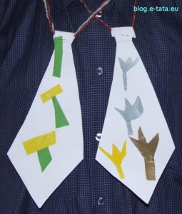 krawaty z papieru - prezent na dzień taty robiony samemu