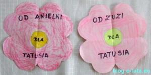 kwiatki-serduszka z papieru, prezent na dzień taty zrobiony samemu