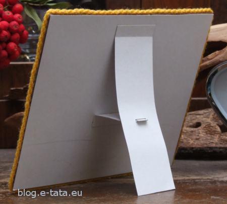 Ramka do zdjęcia, zdobiona wełną, zrobiona przez dzieci - tył