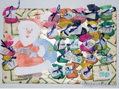 Ukończony kalendarz adwentowy zrobiony razem z moją młodszą córką, kalendarz adwentowy zrobiony przez dziecko