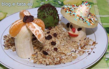 Meksykanin zrobiony z banana i ananasa, potrawa, deser zrobiony przez dzieci