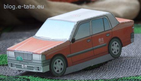 Taxi prosty model do wycinania i sklejenia dla dzieci