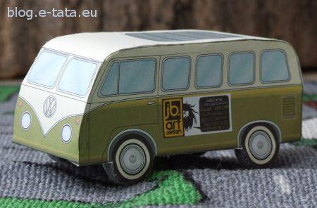 VW Bus prosty model do wycinania i sklejenia dla dzieci