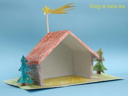 Bożonarodzeniowa szopka z papieru - pokolorowane przez dzieci