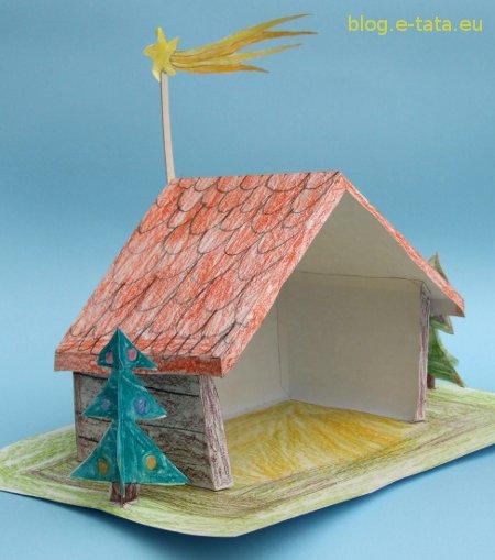 Bożonarodzeniowa szopka z papieru - próbne sklejanie, praca dzieci